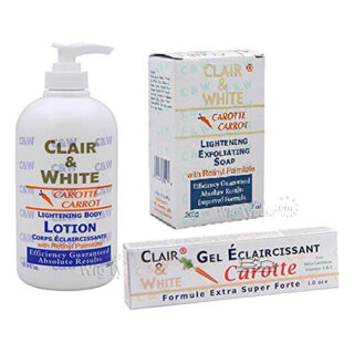 Clair & White CARROT Lightening TRIPLE COMBO (Body Lotion, Exfoliating Soap, and Lightening Gel)