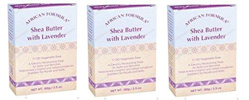 3 Packs of African Formula Shea Butter With Lavender Soap 3.5 Oz 100% Vegetable Base