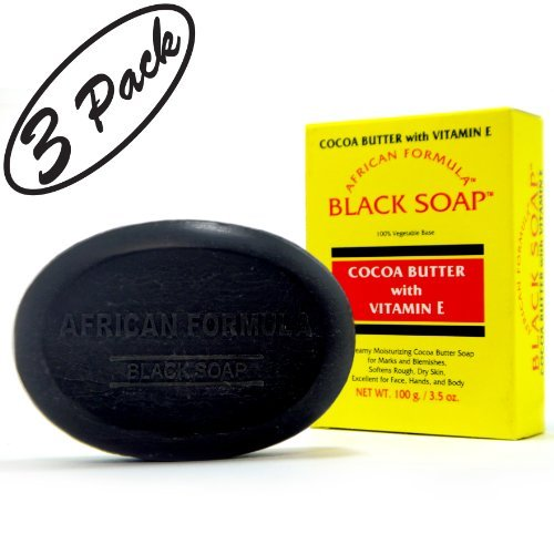 Buy BLACK SOAP African Formula Cocoa Butter Vitamin E Jabon Negro Cacao 3.5oz - 3 PK
