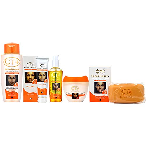 """Clear Therapy + Lightening with """"Carrot Oil"""" Soap, Cream, Lotion, Serum and Tube Cream Set"""